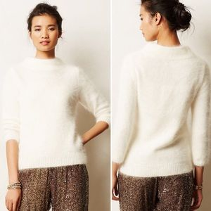 Anthropologie Cream Bedford Mock Neck Sweater